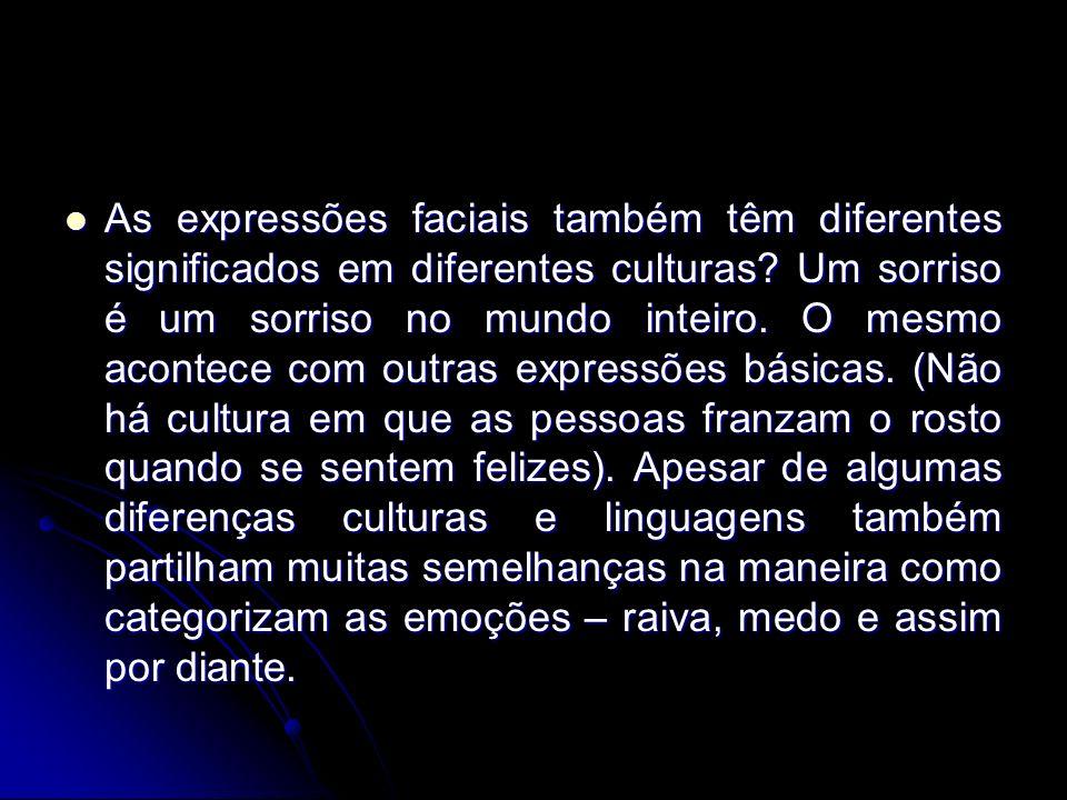As expressões faciais também têm diferentes significados em diferentes culturas? Um sorriso é um sorriso no mundo inteiro. O mesmo acontece com outras