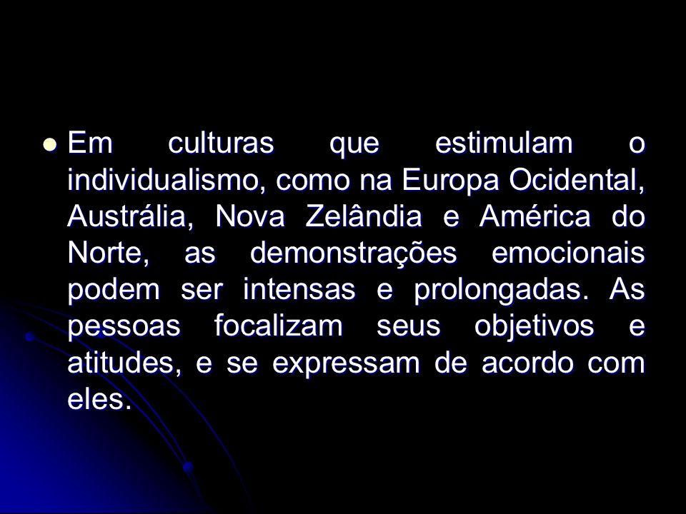 Em culturas que estimulam o individualismo, como na Europa Ocidental, Austrália, Nova Zelândia e América do Norte, as demonstrações emocionais podem s