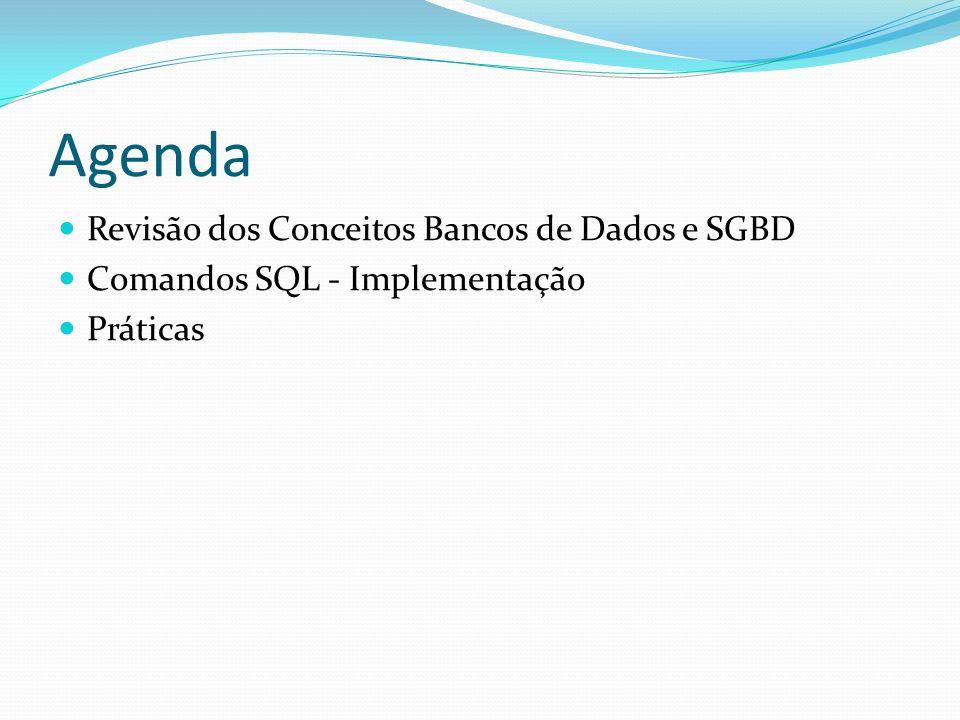 Agenda Revisão dos Conceitos Bancos de Dados e SGBD Comandos SQL - Implementação Práticas