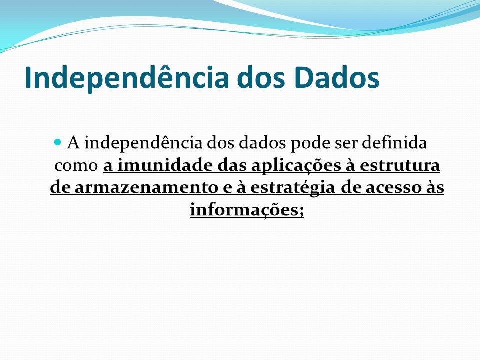 Independência dos Dados A independência dos dados pode ser definida como a imunidade das aplicações à estrutura de armazenamento e à estratégia de ace