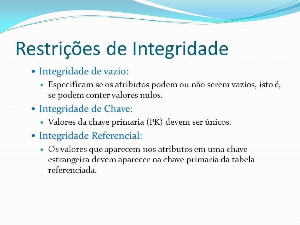 Restrições de Integridade Integridade de vazio: Especificam se os atributos podem ou não serem vazios, isto é, se podem conter valores nulos. Integrid