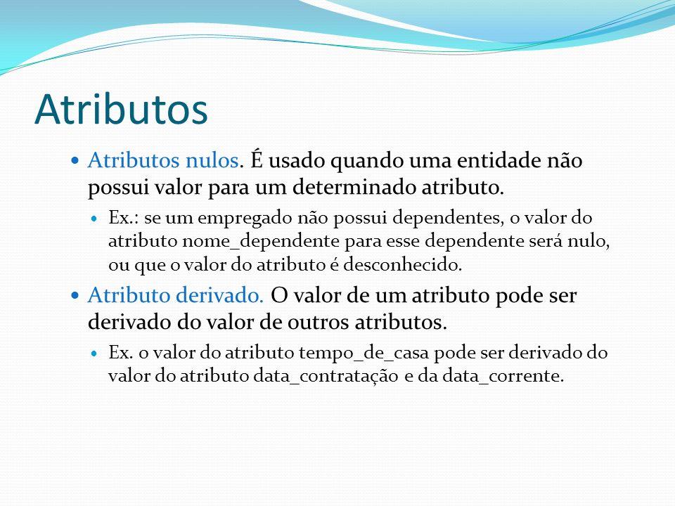 Atributos Atributos nulos. É usado quando uma entidade não possui valor para um determinado atributo. Ex.: se um empregado não possui dependentes, o v