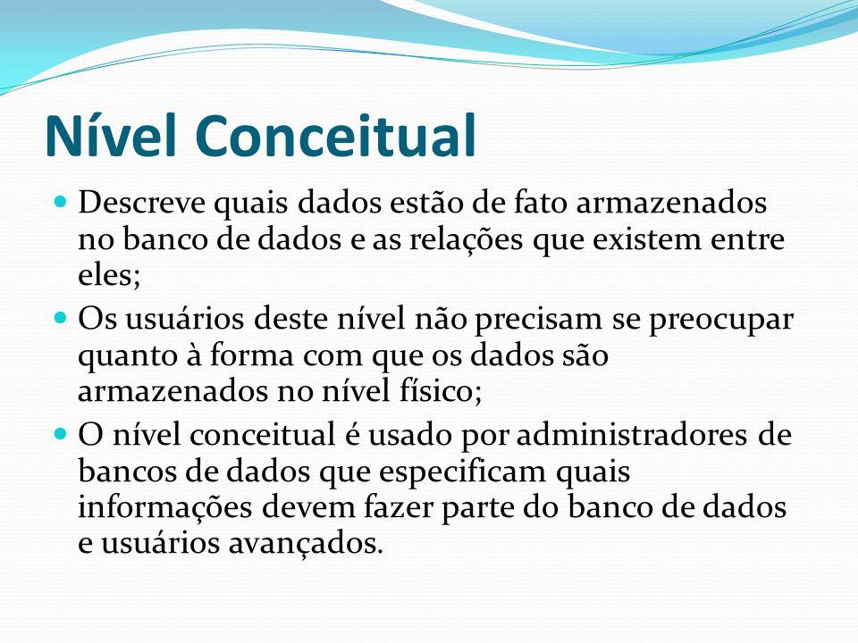 Nível Conceitual Descreve quais dados estão de fato armazenados no banco de dados e as relações que existem entre eles; Os usuários deste nível não pr