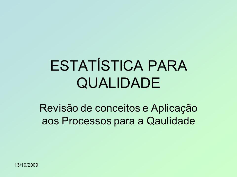 13/10/2009 Estatística é a ciência que apresenta processos próprios para coletar, apresentar e interpretar adequadamente conjuntos de dados, sejam eles numéricos ou não.