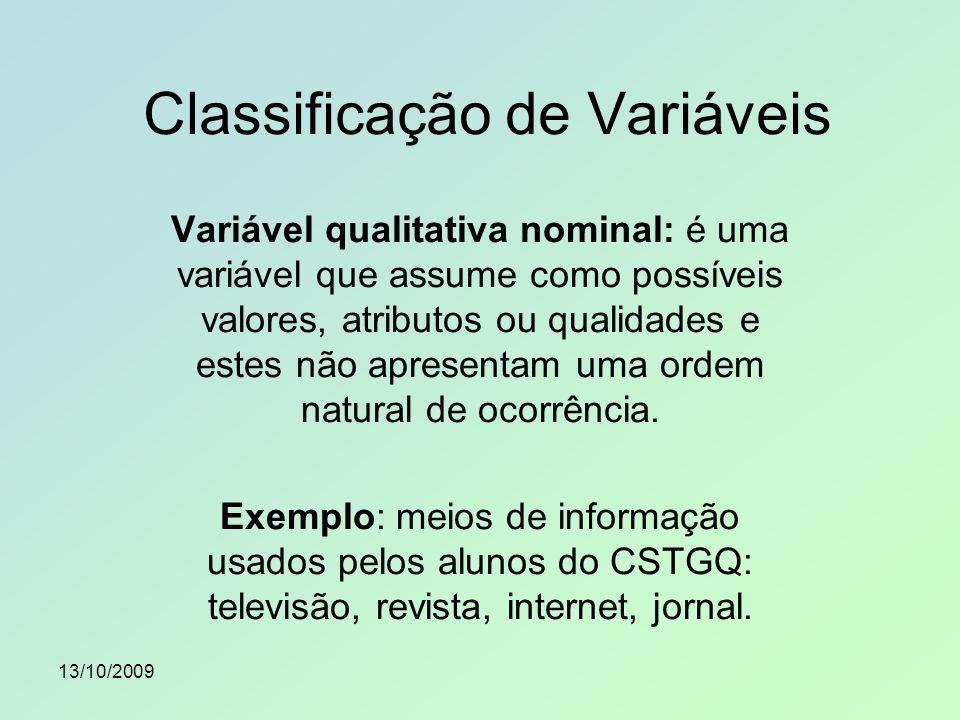 13/10/2009 Variável qualitativa ordinal: é uma variável que assume como possíveis valores atributos ou qualidades e estes apresentam uma ordem natural de ocorrência.