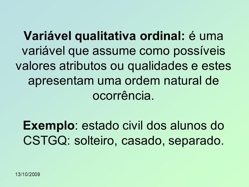 13/10/2009 Variável quantitativa discreta: é uma variável que assume como possíveis valores números, em geral inteiros, formando um conjunto finito ou enumerável.