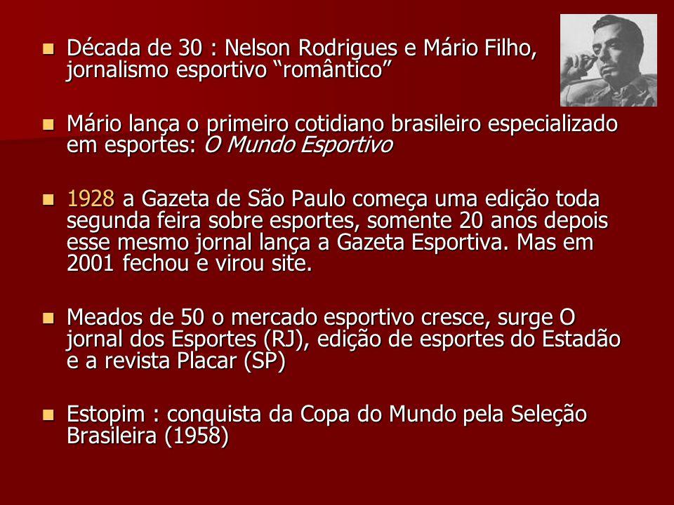 Década de 30 : Nelson Rodrigues e Mário Filho, jornalismo esportivo romântico Década de 30 : Nelson Rodrigues e Mário Filho, jornalismo esportivo româ