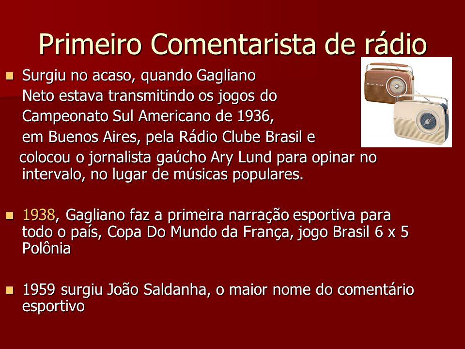 Primeiro Comentarista de rádio Surgiu no acaso, quando Gagliano Surgiu no acaso, quando Gagliano Neto estava transmitindo os jogos do Campeonato Sul A
