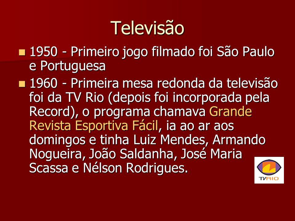 Televisão 1950 - Primeiro jogo filmado foi São Paulo e Portuguesa 1950 - Primeiro jogo filmado foi São Paulo e Portuguesa 1960 - Primeira mesa redonda