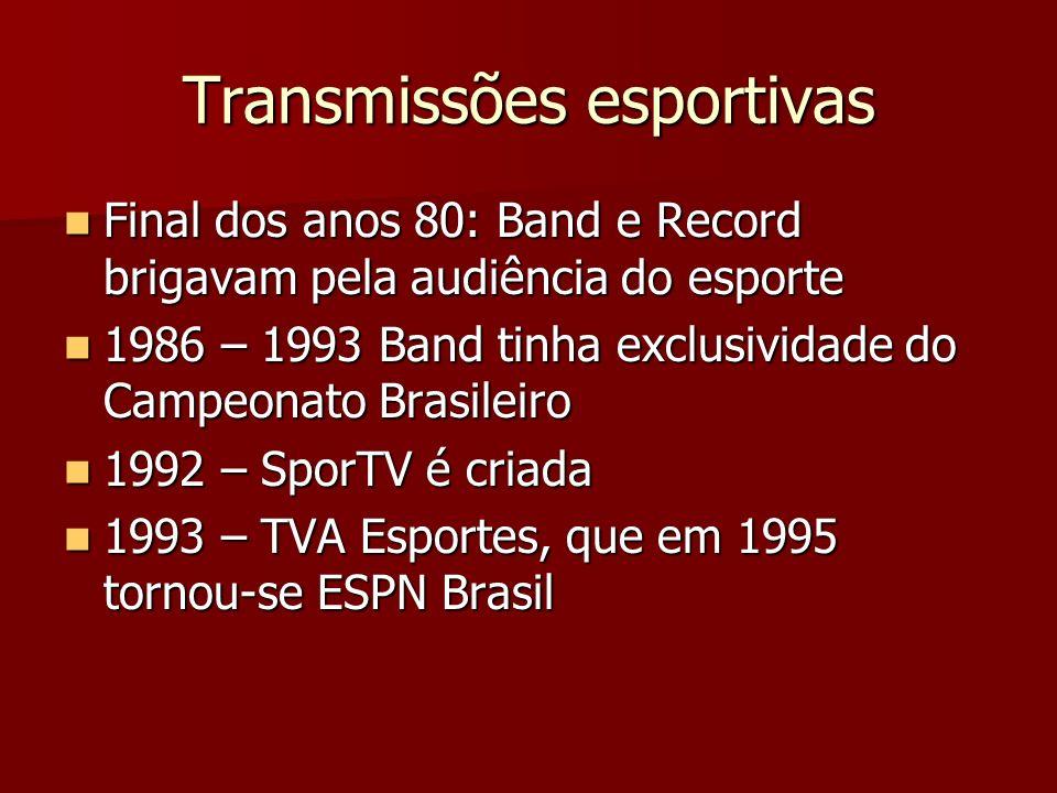 Transmissões esportivas Final dos anos 80: Band e Record brigavam pela audiência do esporte Final dos anos 80: Band e Record brigavam pela audiência d