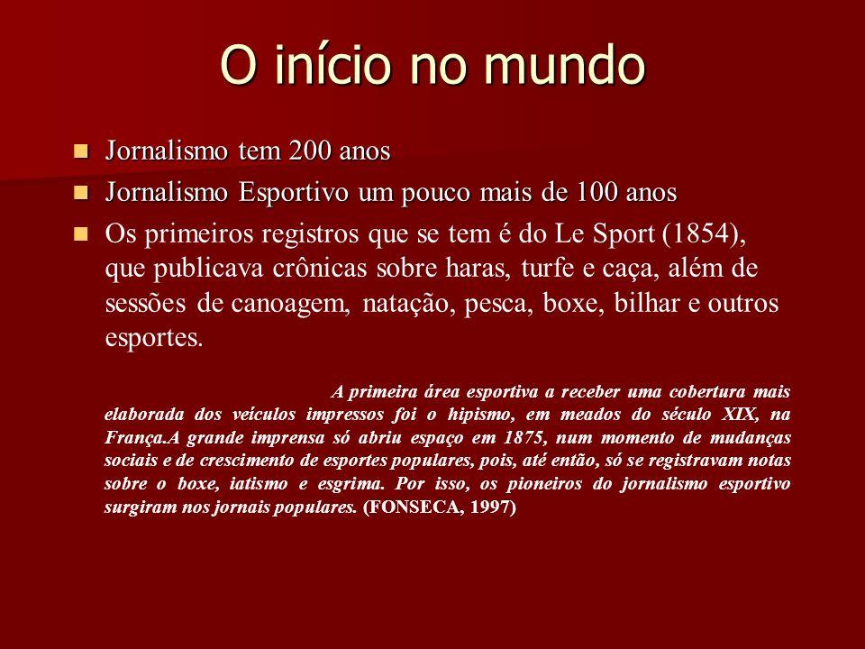 O início no mundo Jornalismo tem 200 anos Jornalismo tem 200 anos Jornalismo Esportivo um pouco mais de 100 anos Jornalismo Esportivo um pouco mais de
