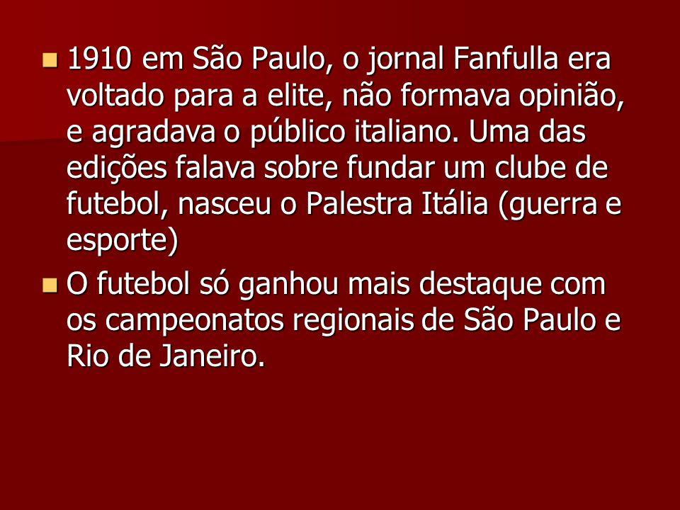 1910 em São Paulo, o jornal Fanfulla era voltado para a elite, não formava opinião, e agradava o público italiano. Uma das edições falava sobre fundar