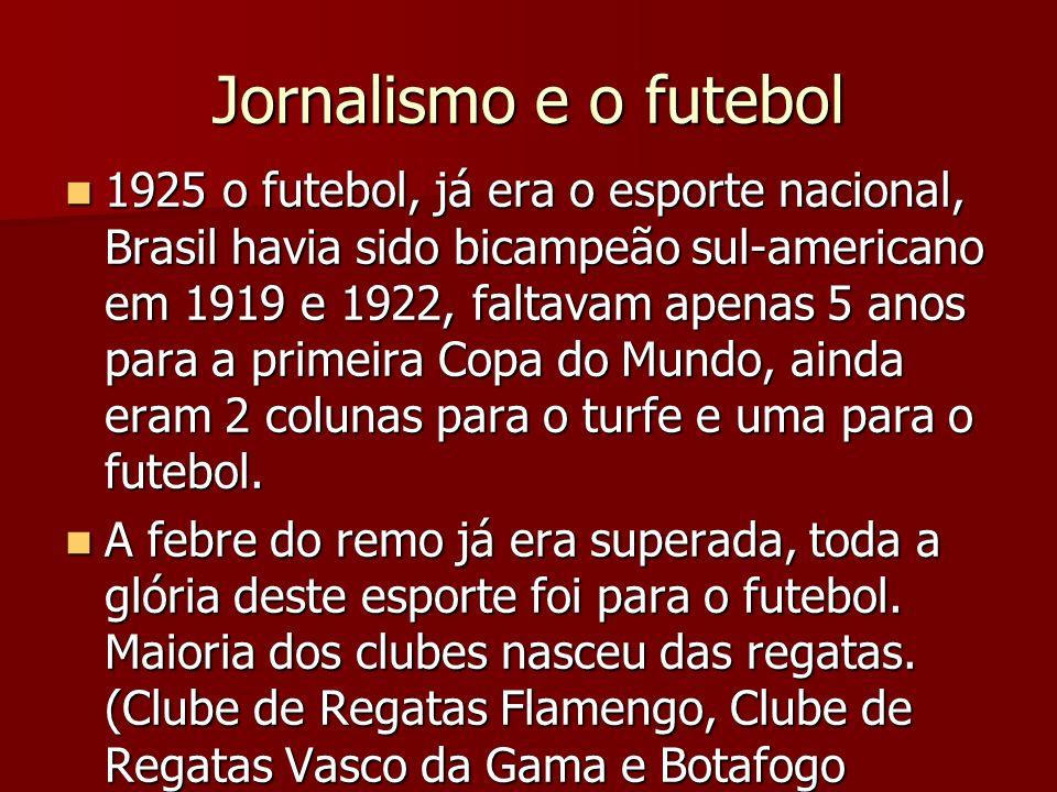 Jornalismo e o futebol 1925 o futebol, já era o esporte nacional, Brasil havia sido bicampeão sul-americano em 1919 e 1922, faltavam apenas 5 anos par