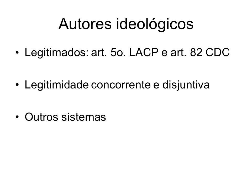Autores ideológicos Legitimados: art.5o. LACP e art.