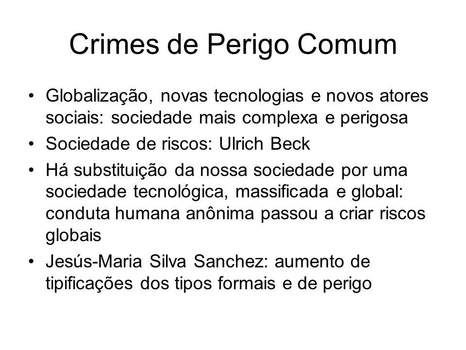 Crimes de Perigo Comum Globalização, novas tecnologias e novos atores sociais: sociedade mais complexa e perigosa Sociedade de riscos: Ulrich Beck Há