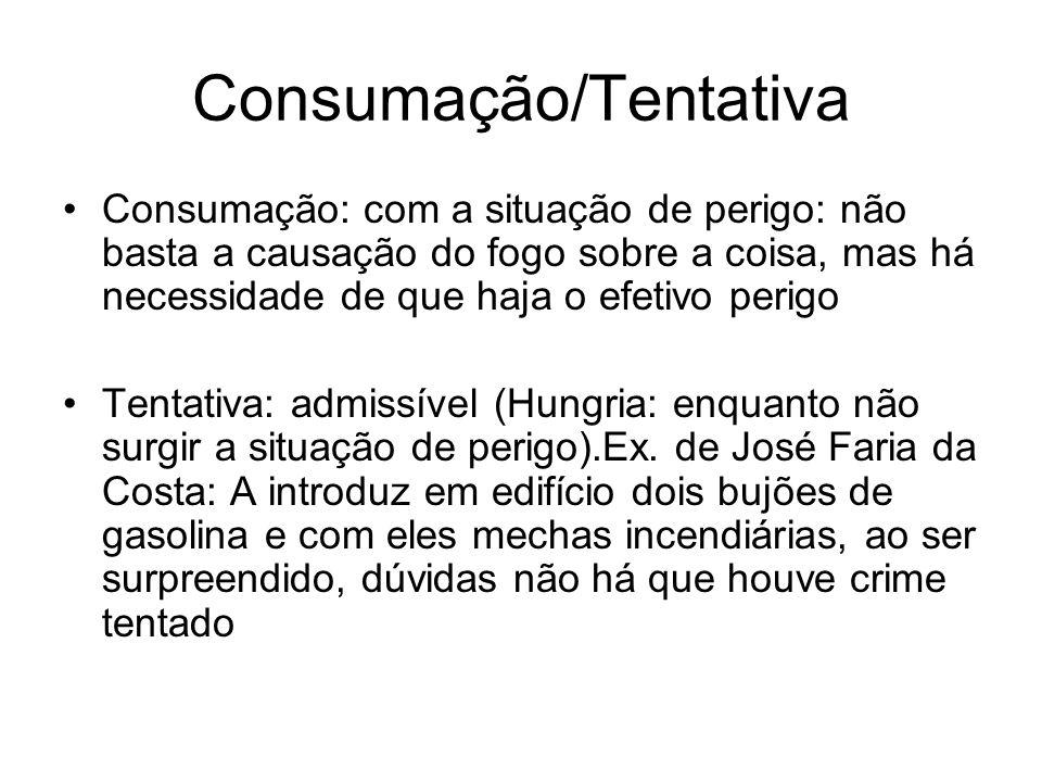 Consumação/Tentativa Consumação: com a situação de perigo: não basta a causação do fogo sobre a coisa, mas há necessidade de que haja o efetivo perigo
