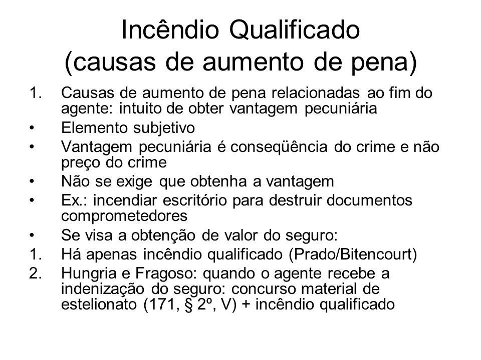 Incêndio Qualificado (causas de aumento de pena) 1.Causas de aumento de pena relacionadas ao fim do agente: intuito de obter vantagem pecuniária Eleme