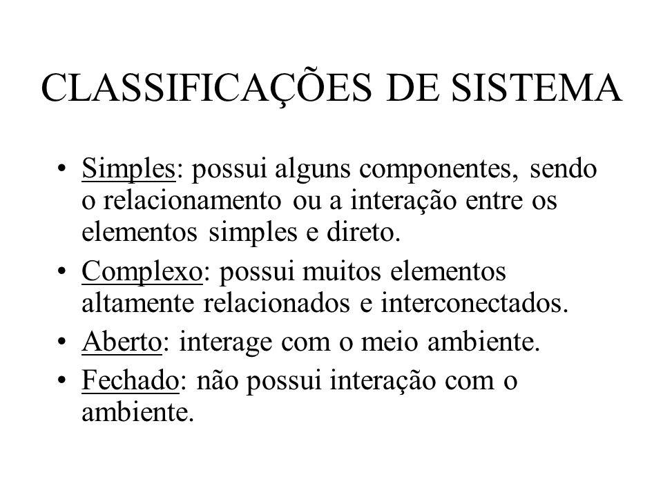 CLASSIFICAÇÕES DE SISTEMA Simples: possui alguns componentes, sendo o relacionamento ou a interação entre os elementos simples e direto. Complexo: pos