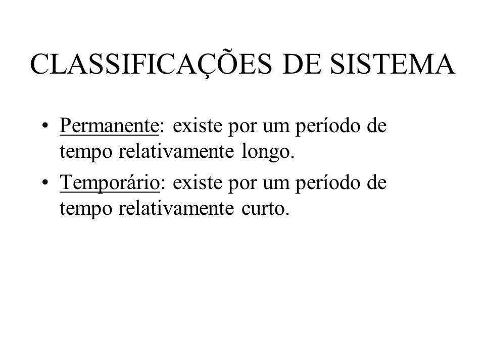 CLASSIFICAÇÕES DE SISTEMA Permanente: existe por um período de tempo relativamente longo. Temporário: existe por um período de tempo relativamente cur