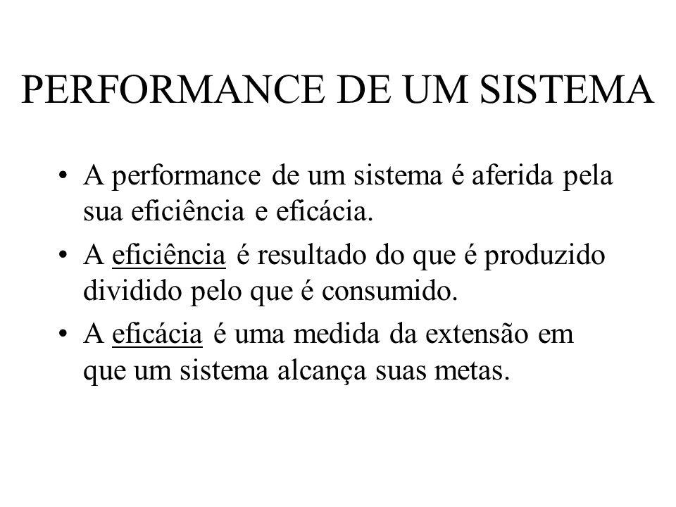 PERFORMANCE DE UM SISTEMA A performance de um sistema é aferida pela sua eficiência e eficácia. A eficiência é resultado do que é produzido dividido p