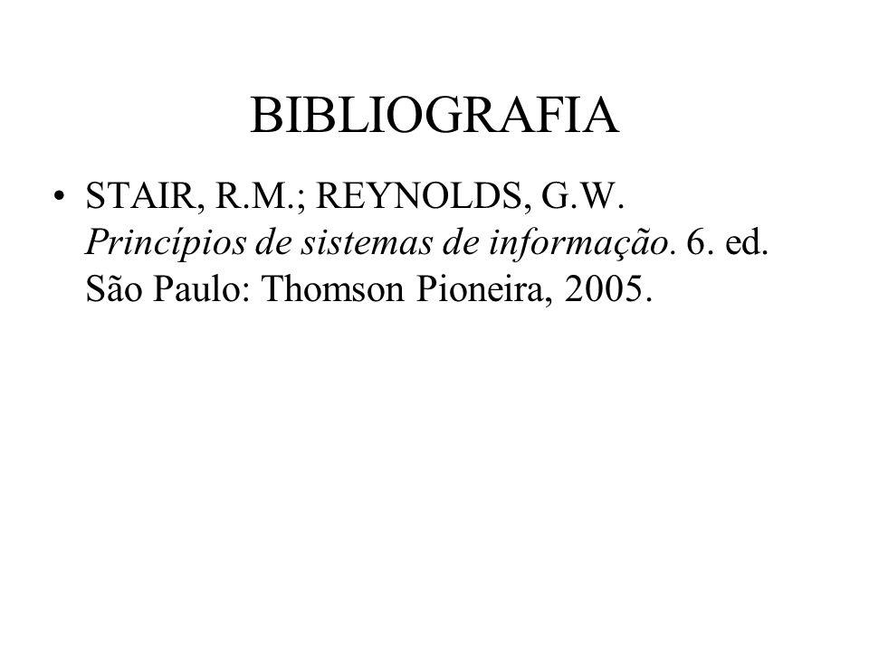 BIBLIOGRAFIA STAIR, R.M.; REYNOLDS, G.W. Princípios de sistemas de informação. 6. ed. São Paulo: Thomson Pioneira, 2005.