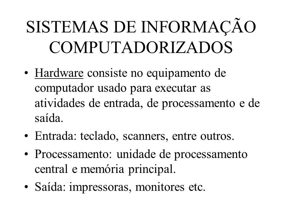 SISTEMAS DE INFORMAÇÃO COMPUTADORIZADOS Hardware consiste no equipamento de computador usado para executar as atividades de entrada, de processamento