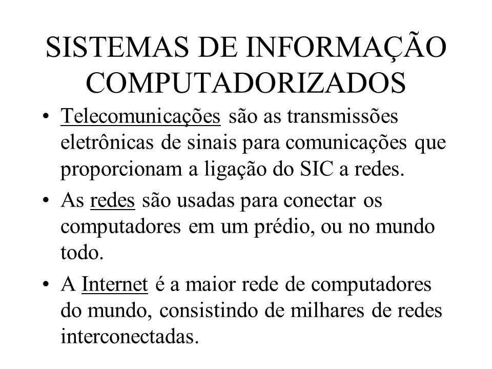 SISTEMAS DE INFORMAÇÃO COMPUTADORIZADOS Telecomunicações são as transmissões eletrônicas de sinais para comunicações que proporcionam a ligação do SIC