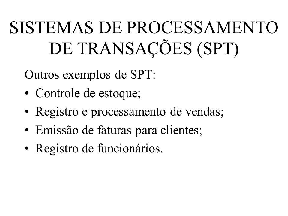 SISTEMAS DE PROCESSAMENTO DE TRANSAÇÕES (SPT) Outros exemplos de SPT: Controle de estoque; Registro e processamento de vendas; Emissão de faturas para
