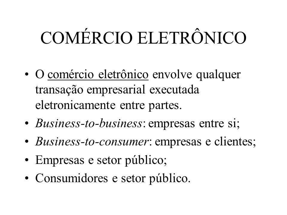 COMÉRCIO ELETRÔNICO O comércio eletrônico envolve qualquer transação empresarial executada eletronicamente entre partes. Business-to-business: empresa