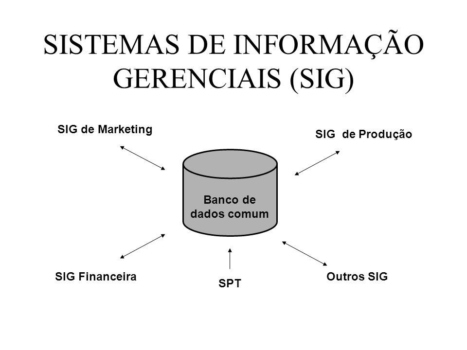 SISTEMAS DE INFORMAÇÃO GERENCIAIS (SIG) Banco de dados comum SIG de Produção Outros SIG SIG de Marketing SIG Financeira SPT
