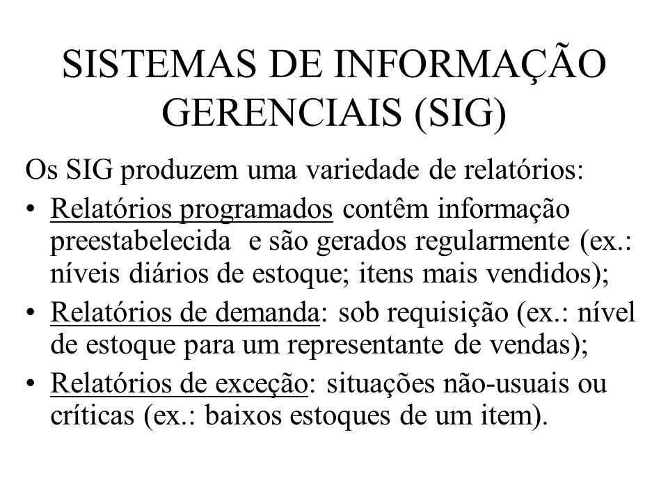 SISTEMAS DE INFORMAÇÃO GERENCIAIS (SIG) Os SIG produzem uma variedade de relatórios: Relatórios programados contêm informação preestabelecida e são ge