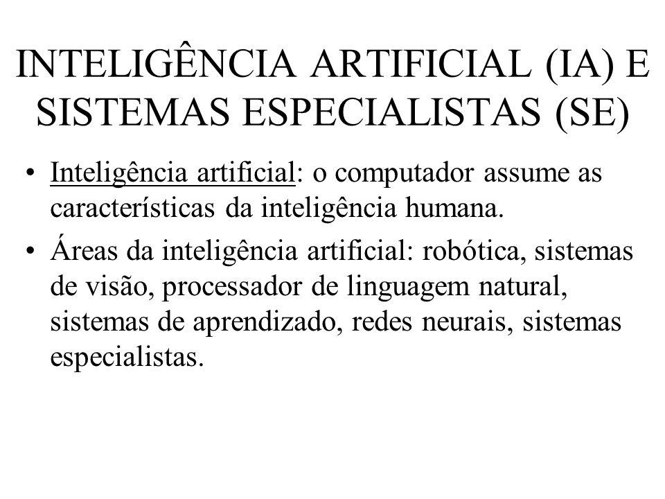 INTELIGÊNCIA ARTIFICIAL (IA) E SISTEMAS ESPECIALISTAS (SE) Inteligência artificial: o computador assume as características da inteligência humana. Áre