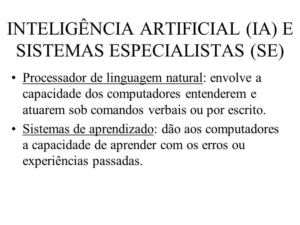 INTELIGÊNCIA ARTIFICIAL (IA) E SISTEMAS ESPECIALISTAS (SE) Processador de linguagem natural: envolve a capacidade dos computadores entenderem e atuare