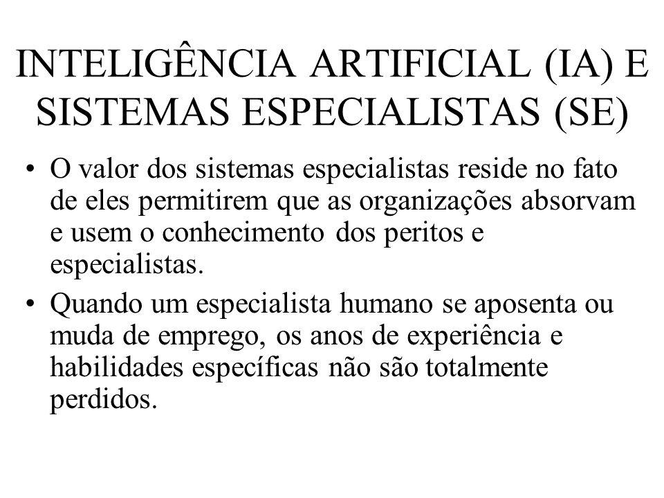INTELIGÊNCIA ARTIFICIAL (IA) E SISTEMAS ESPECIALISTAS (SE) O valor dos sistemas especialistas reside no fato de eles permitirem que as organizações ab