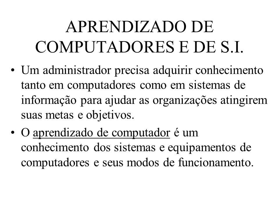 APRENDIZADO DE COMPUTADORES E DE S.I. Um administrador precisa adquirir conhecimento tanto em computadores como em sistemas de informação para ajudar