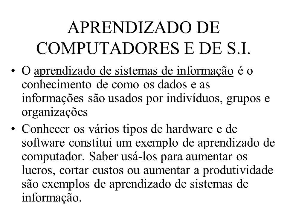 APRENDIZADO DE COMPUTADORES E DE S.I. O aprendizado de sistemas de informação é o conhecimento de como os dados e as informações são usados por indiví