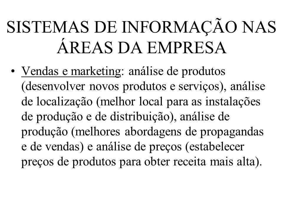 SISTEMAS DE INFORMAÇÃO NAS ÁREAS DA EMPRESA Vendas e marketing: análise de produtos (desenvolver novos produtos e serviços), análise de localização (m