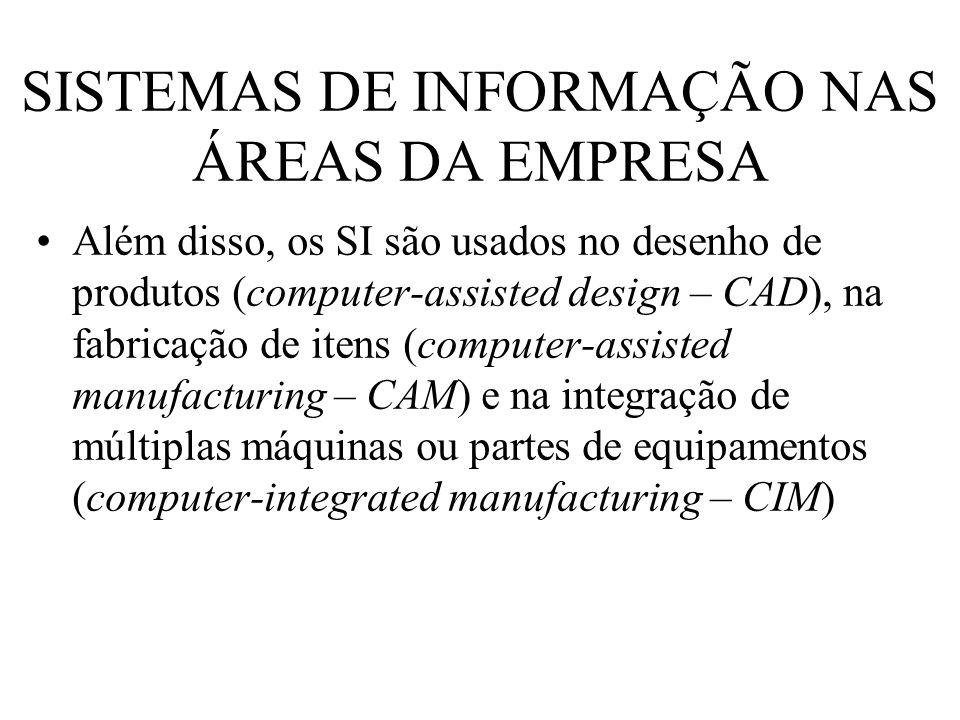 SISTEMAS DE INFORMAÇÃO NAS ÁREAS DA EMPRESA Além disso, os SI são usados no desenho de produtos (computer-assisted design – CAD), na fabricação de ite