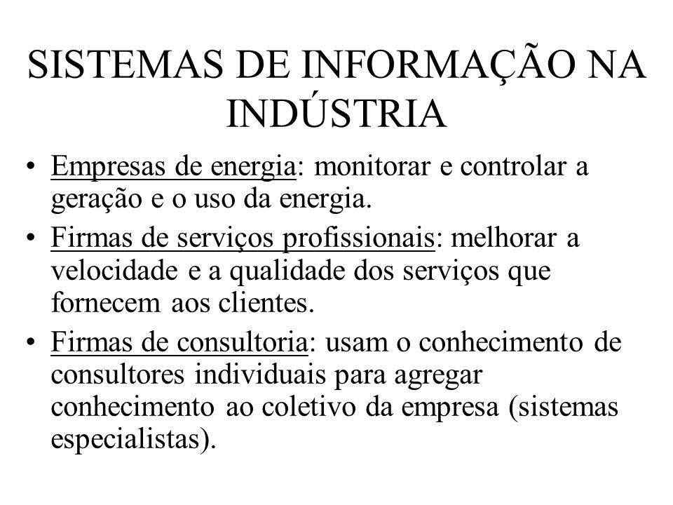 SISTEMAS DE INFORMAÇÃO NA INDÚSTRIA Empresas de energia: monitorar e controlar a geração e o uso da energia. Firmas de serviços profissionais: melhora
