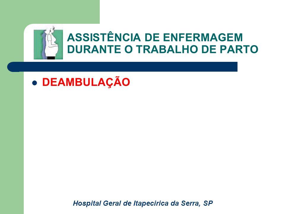 ASSISTÊNCIA DE ENFERMAGEM DURANTE O TRABALHO DE PARTO DEAMBULAÇÃO Hospital Geral de Itapecirica da Serra, SP