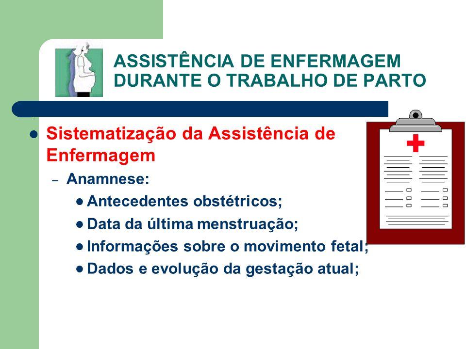 ASSISTÊNCIA DE ENFERMAGEM DURANTE O TRABALHO DE PARTO Sistematização da Assistência de Enfermagem – Anamnese: Antecedentes obstétricos; Data da última