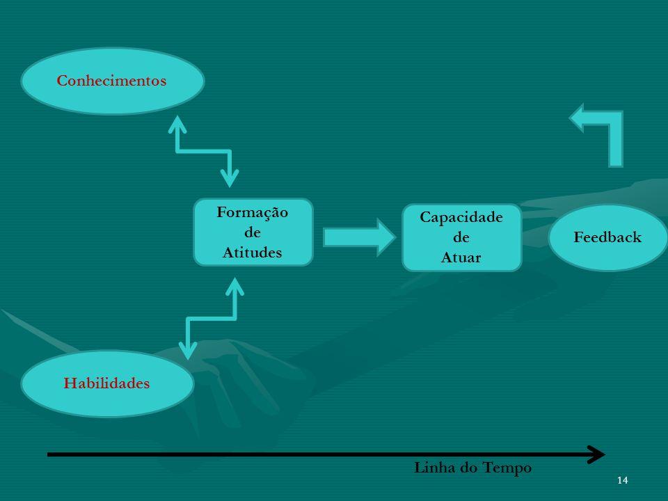 14 Formação de Atitudes Conhecimentos Habilidades Capacidade de Atuar Feedback Linha do Tempo