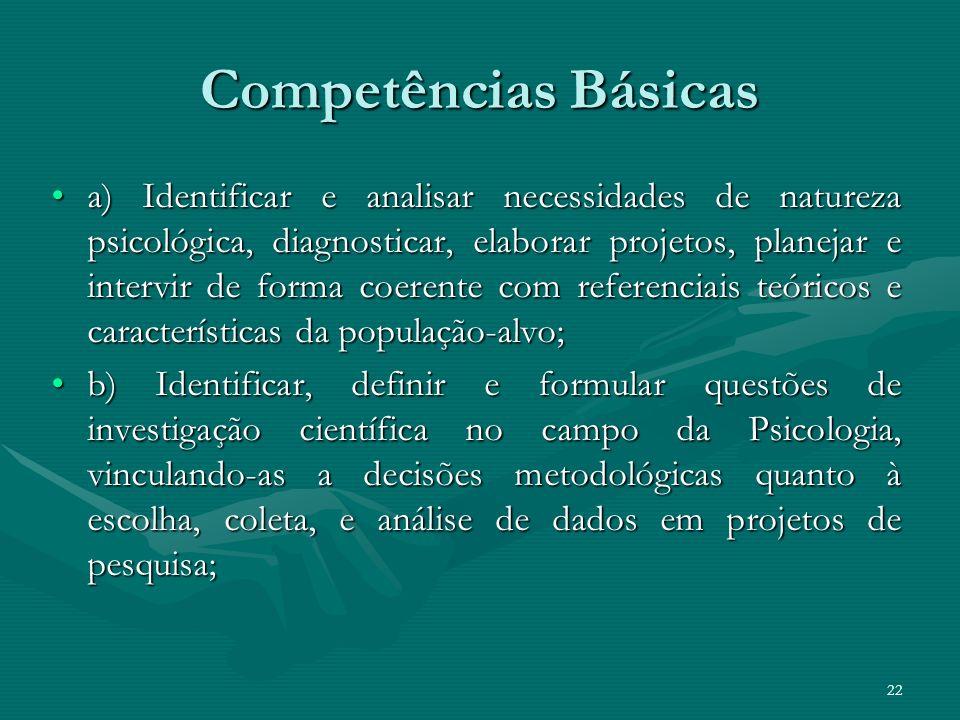 22 Competências Básicas a) Identificar e analisar necessidades de natureza psicológica, diagnosticar, elaborar projetos, planejar e intervir de forma