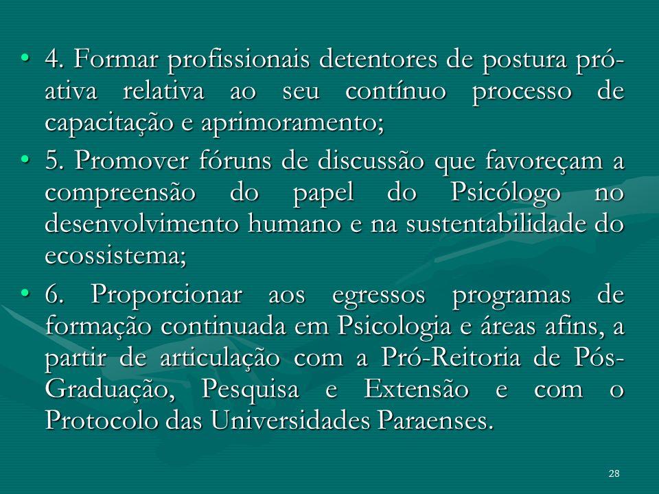 28 4. Formar profissionais detentores de postura pró- ativa relativa ao seu contínuo processo de capacitação e aprimoramento;4. Formar profissionais d