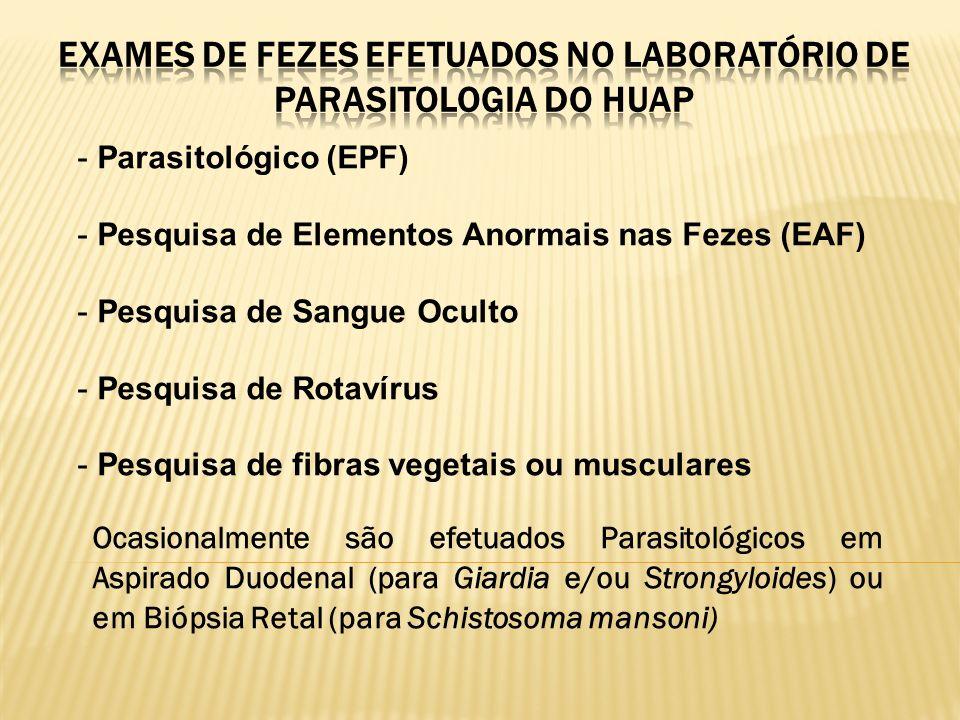 - Parasitológico (EPF) - Pesquisa de Elementos Anormais nas Fezes (EAF) - Pesquisa de Sangue Oculto - Pesquisa de Rotavírus - Pesquisa de fibras veget