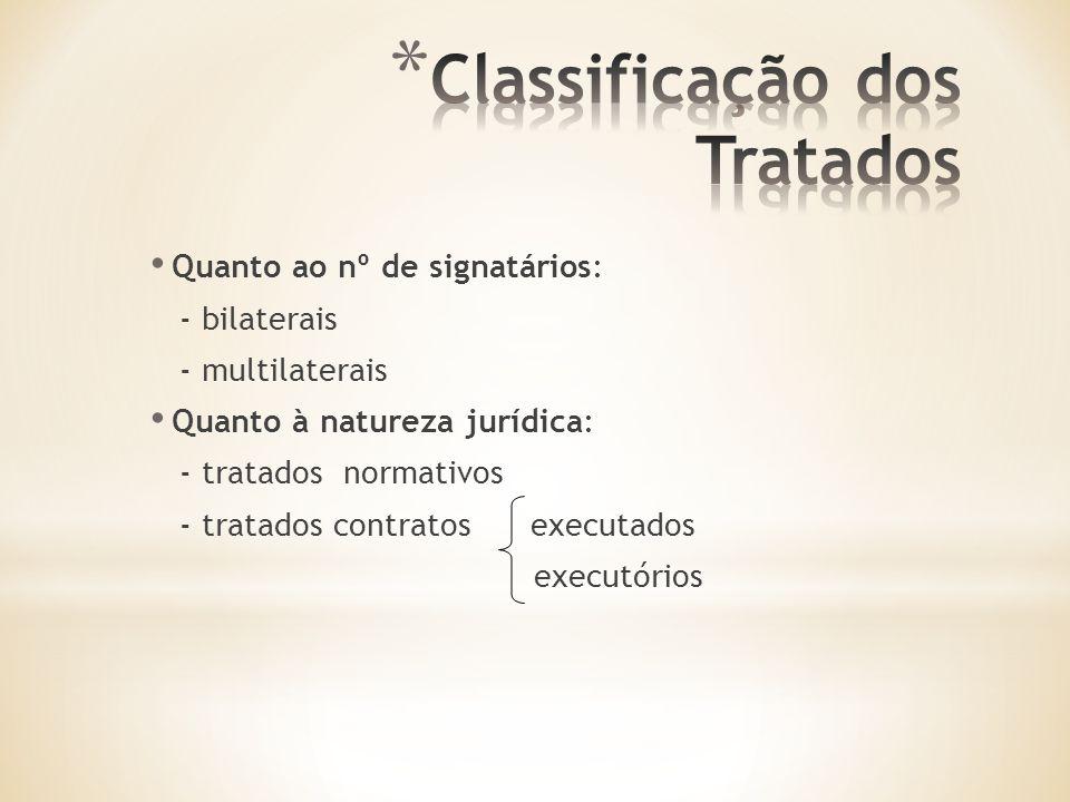 Quanto ao nº de signatários: - bilaterais - multilaterais Quanto à natureza jurídica: - tratados normativos - tratados contratos executados executórios