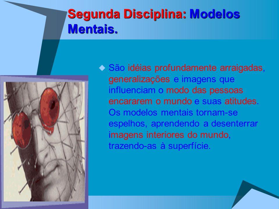 Segunda Disciplina: Modelos Mentais. São idéias profundamente arraigadas, generalizações e imagens que influenciam o modo das pessoas encararem o mund