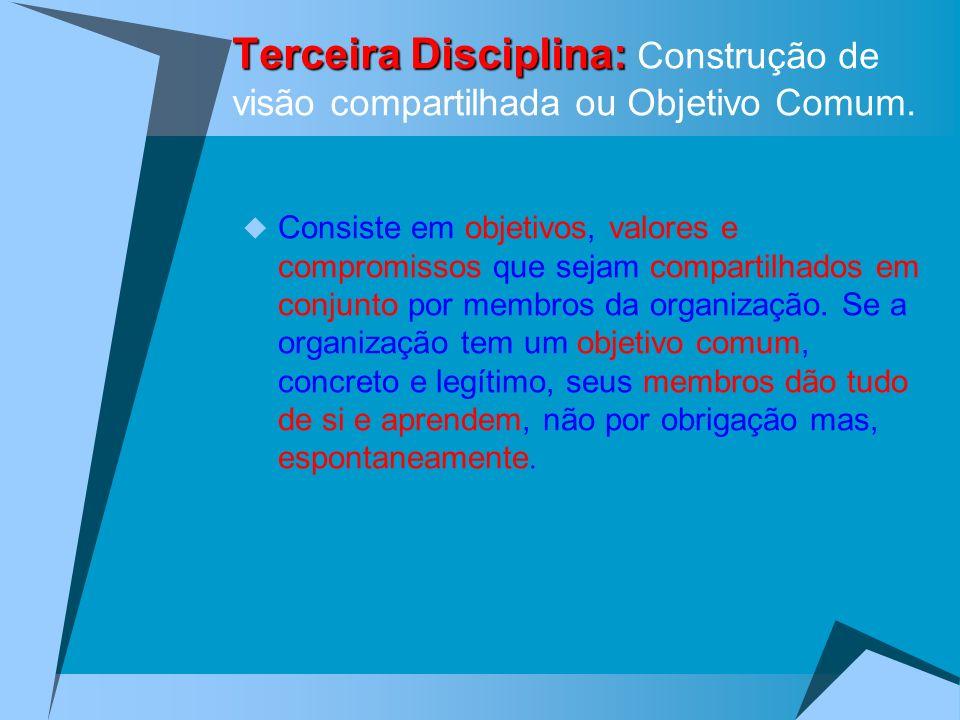 Terceira Disciplina: Terceira Disciplina: Construção de visão compartilhada ou Objetivo Comum. Consiste em objetivos, valores e compromissos que sejam
