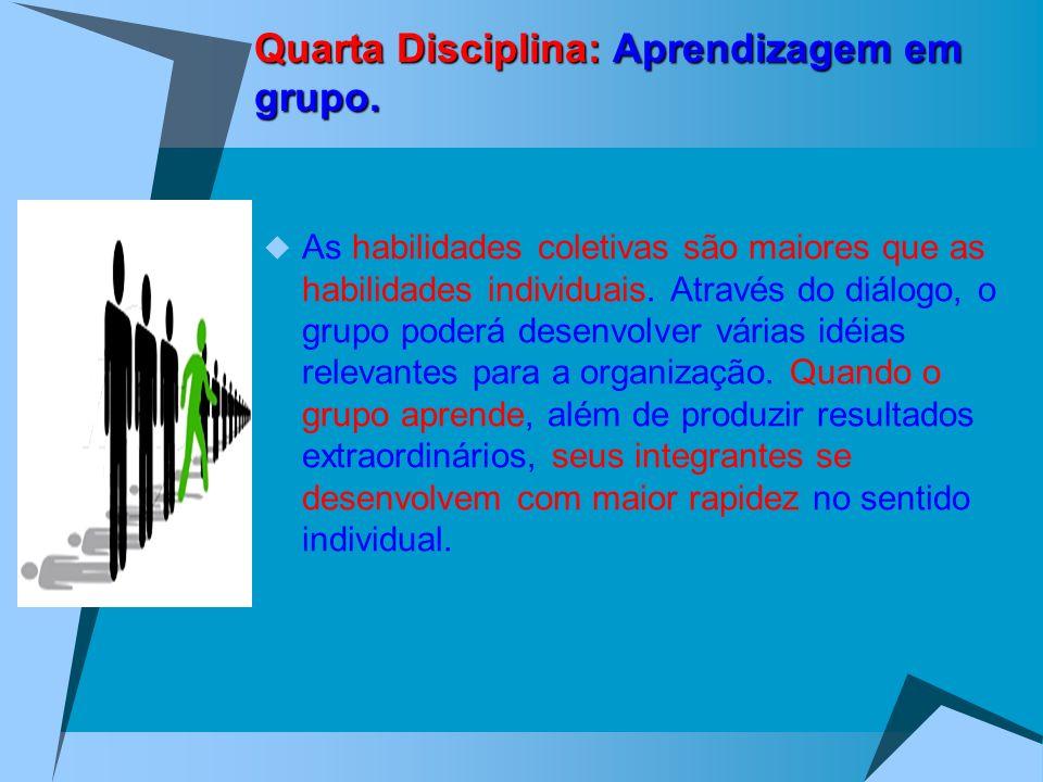 Quarta Disciplina: Aprendizagem em grupo. As habilidades coletivas são maiores que as habilidades individuais. Através do diálogo, o grupo poderá dese