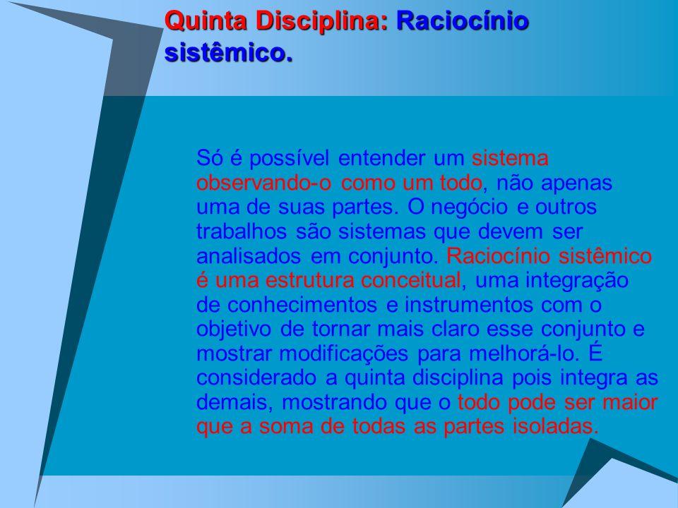 Quinta Disciplina: Raciocínio sistêmico. Só é possível entender um sistema observando-o como um todo, não apenas uma de suas partes. O negócio e outro